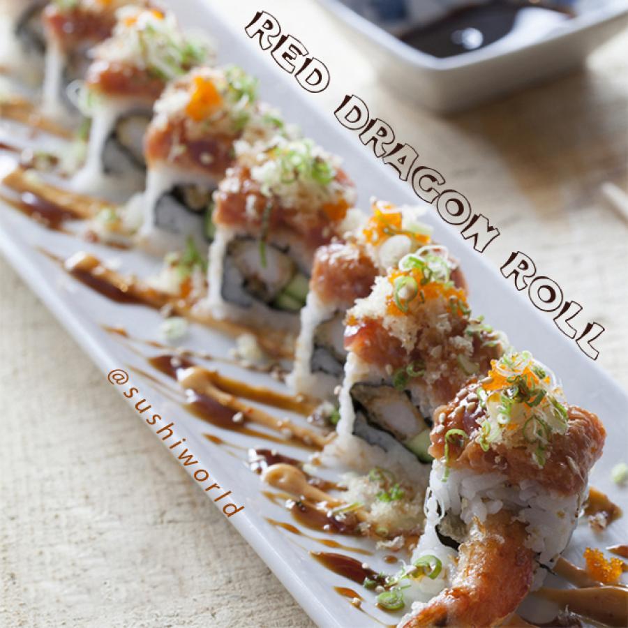 Red Dragon Roll Shrimp Tempura Spicy Tuna Masago Green Onions Spicy ...